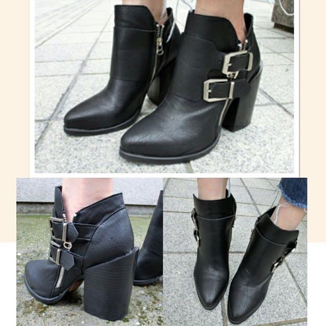 薛妞妞著用-黑色皮質個性粗跟踝靴 全🆕品