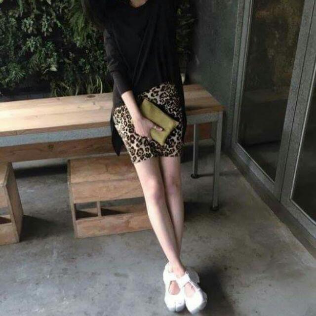 歐美時尚性感休閒 豹紋鬆緊短裙包臀裙