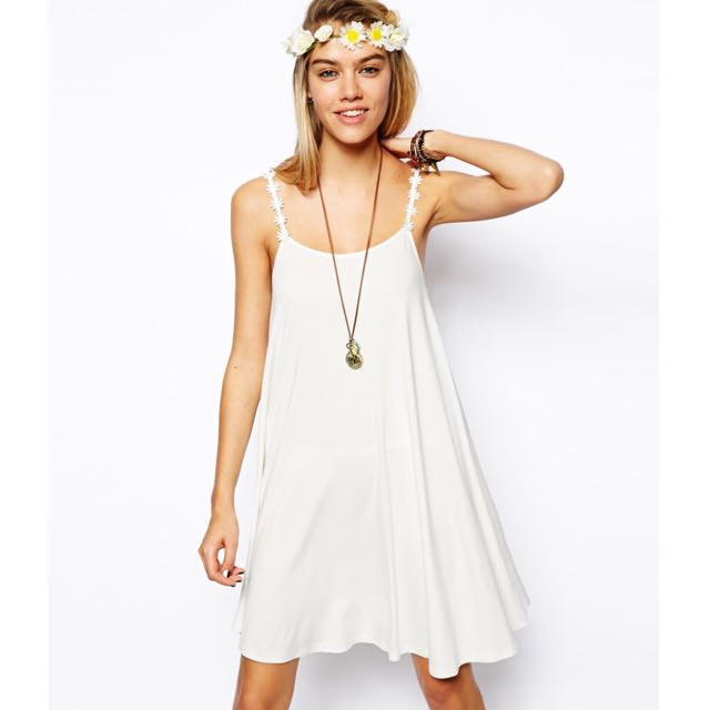 ASOS LILAC Swing Dress With Daisy Chain Straps (UK 6)