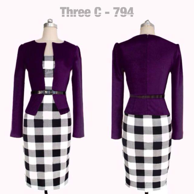 Belted Fake 2pcs Dress (PURPLE)