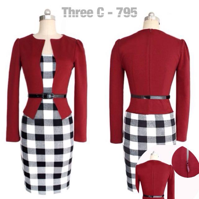 Belted Fake 2pcs Dress (RED)
