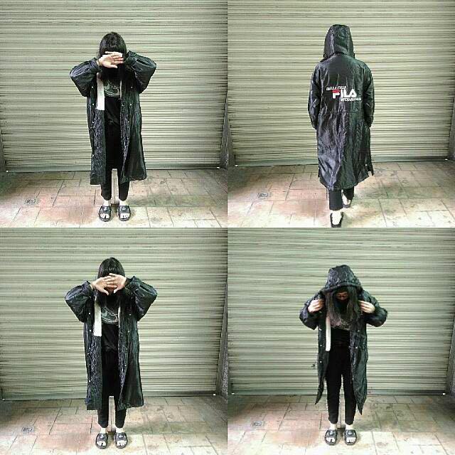 待匯款)古著Fila厚長版運動外套