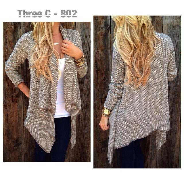 Grey Knit Coat Cardigan
