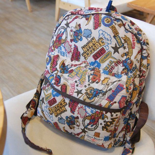 日本HEART MARKET X ROUGH 後背包 英雄漫畫 塗鴉 媽媽包 空氣包 學生包 輕型款