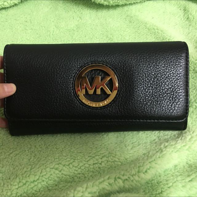 Michael Kors全皮MK飾牌雙摺長夾(黑色)