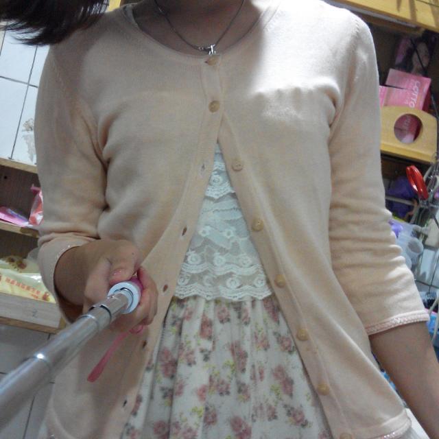 Net粉橘色七分袖針織小外套(罩衫)