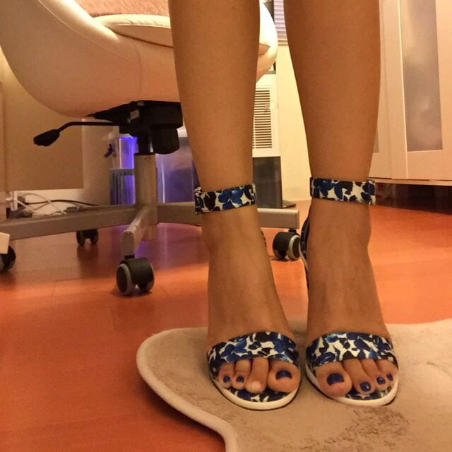sophie&sam 花卉 碎花 優雅藍 涼鞋 粗跟 全新