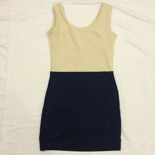 Duo Tone Beige And Navy Blue Bodycon Dress