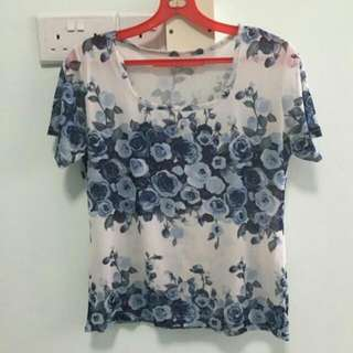 Blue Florals Sleeved Chiffon Top