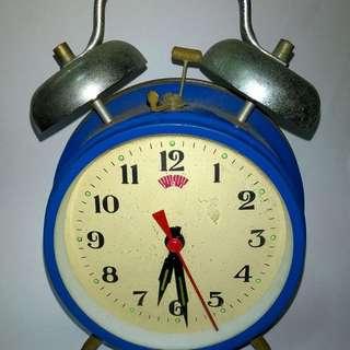 Blue Vintage old mechanical clock 1960s ::::