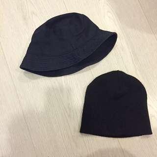 黑針織毛帽+深藍漁夫帽