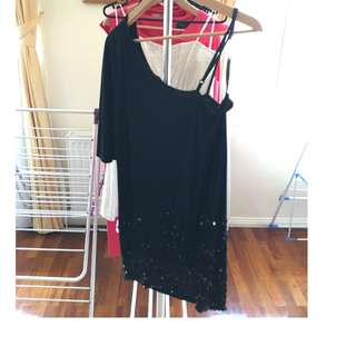 PORTMANS Off Shoulder Black Dress with Sequinned bottom