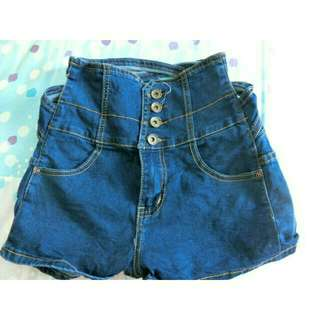 藍色高腰短褲