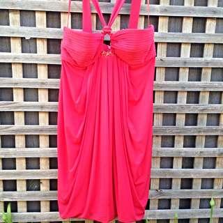 BCBG Maxazria Red Formal Dress (size M)