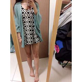 淡綠色氣質毛線罩衫/幾何圖形洋裝背心裙