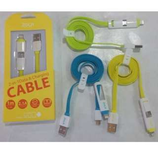 Kabel Data & Charging 2in1 ZOLA Real 2A for (Samsung, BB, Iphone 5