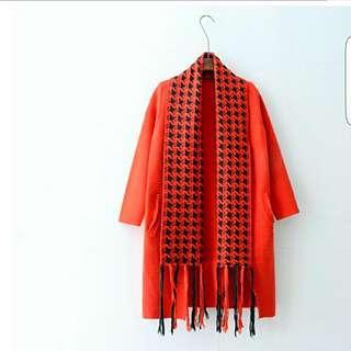 紅色針織外套 羊絨長款毛衣外套圍巾假兩件式