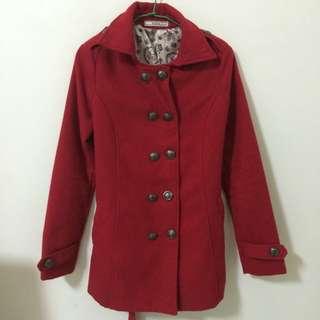(保留)二手/長版紅色大衣