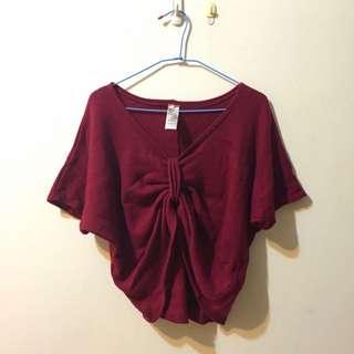 酒紅色針織寬版中間蝴蝶造型罩衫上衣