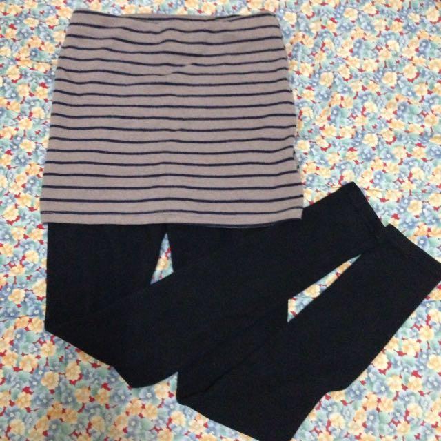 (正韓貨)可可色棉質褲裙