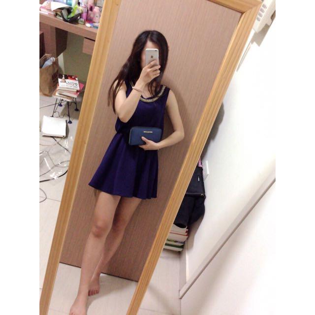 (正韓)氣質鑽邊藍色洋裝裙