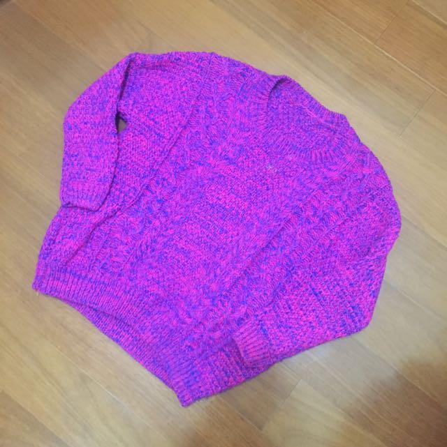 粉藍色針織上衣