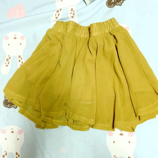 芥黃雪紡短褲裙