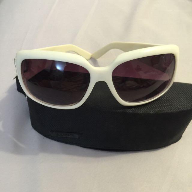 日見小野白框紫鏡片太陽眼鏡