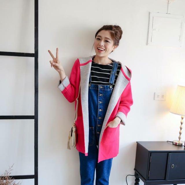 韓版桃紅針織大衣外套