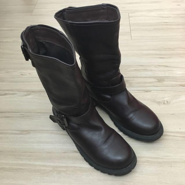 帥氣咖啡色 中筒靴 38號