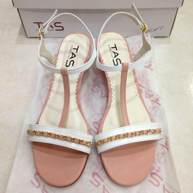 👠🆕 TAS 粉白色-氣質涼鞋 25號(全新未穿)