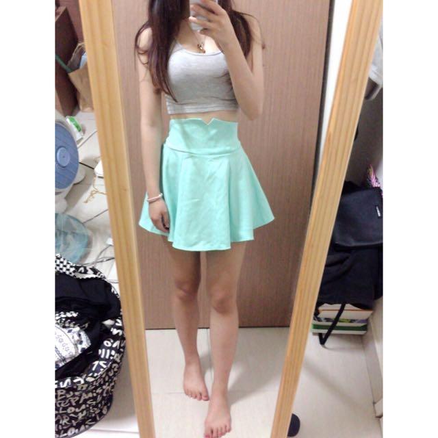湖水綠A字短裙