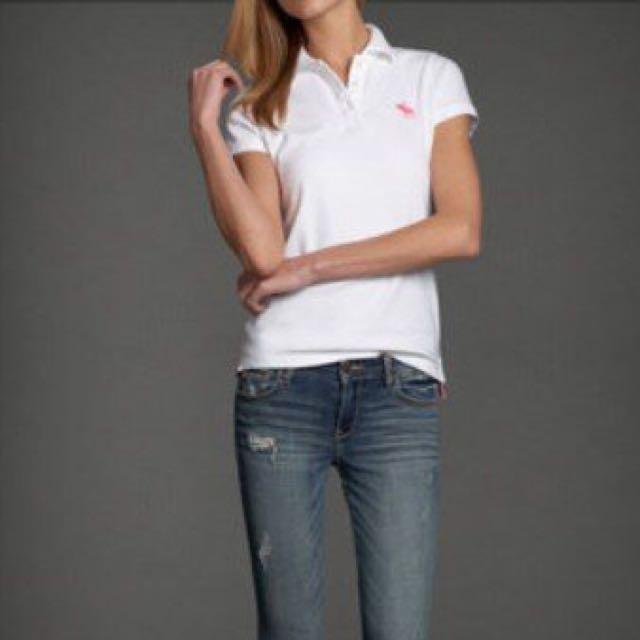 (降)A&F Polo 衫 白色 粉紅鹿 經典二手
