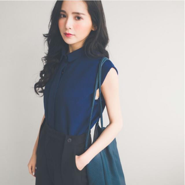 🎯AJPEACE 簡約素色無袖棉麻襯衫 深藍 全新