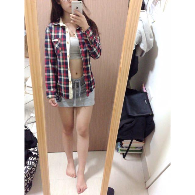 CACO灰色運動短裙/格子襯衫
