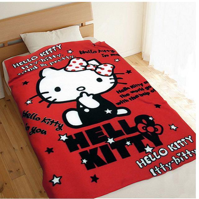 Hello Kitty_保暖刷毛毯_台灣授權版_紅色