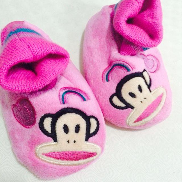 《二手》BABY PAUL FRANK粉紅室內毛拖鞋