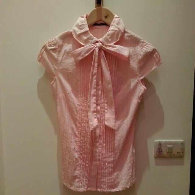 (免運費)theme 粉紅色蝴蝶結短袖襯衫34