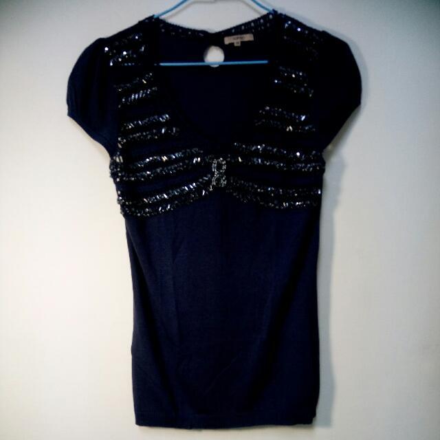 降價Top DO專櫃藍色針織上衣