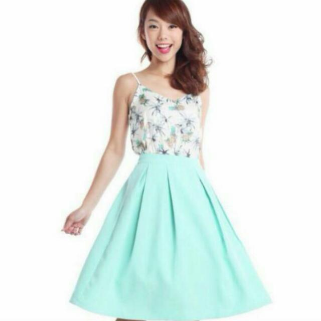 TTR Mint Green Swing And Flare Midi Skirt