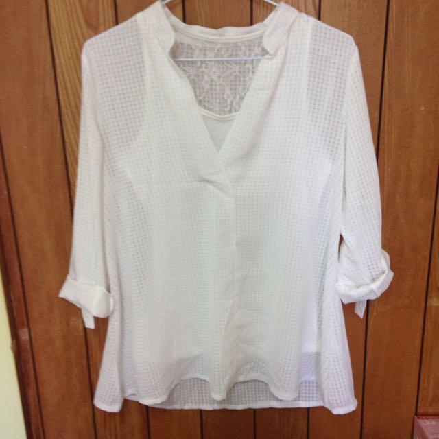[🎅秋冬免運☃]V領格紋雪紡襯衫-白色
