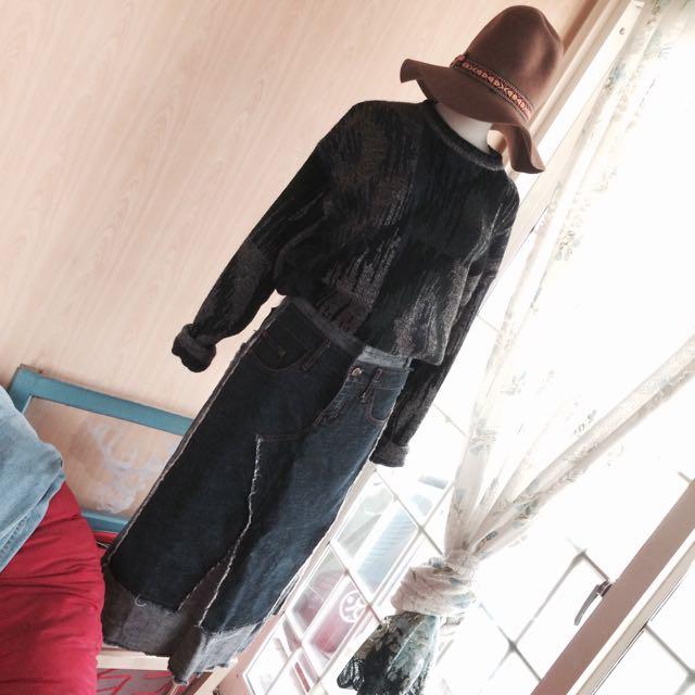 Vintage拼接牛仔長裙🌿