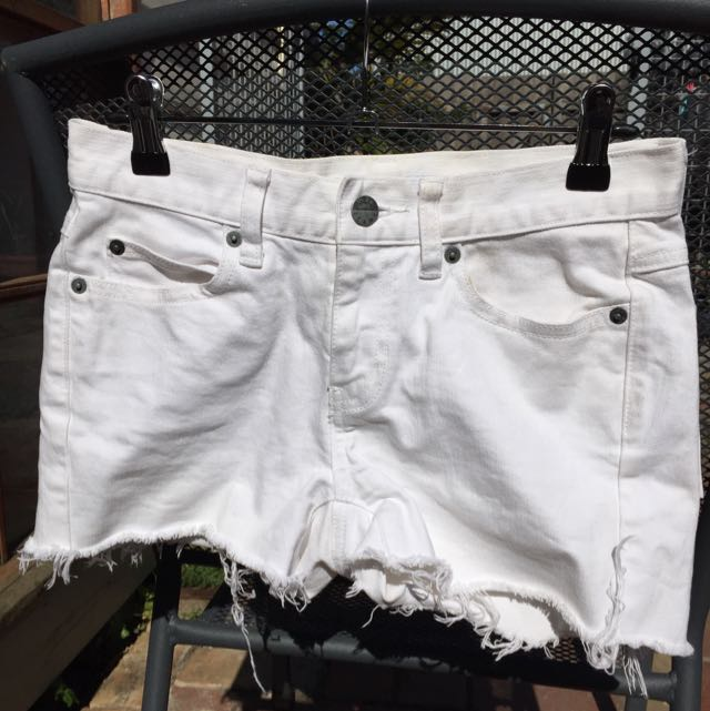White Cut Off Shorts: Size 6