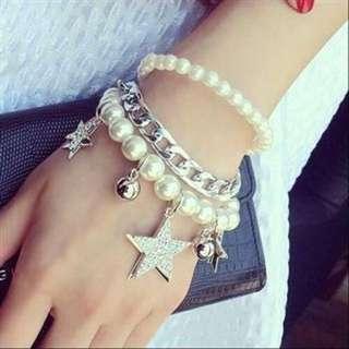 粉色五角星閃鑽音符多層珍珠手鍊(全新)