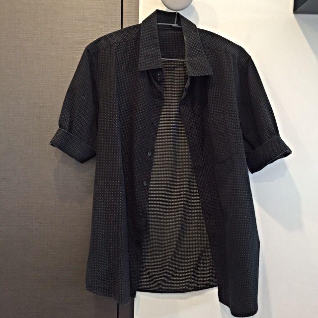 100%棉黑色白點短袖襯衫