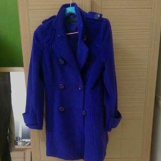 🚚 韓 厚度收腰藍紫色風衣大衣外套