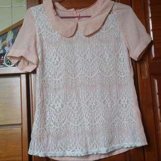 (保留)淡粉色雪紡紗上衣