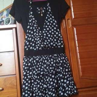 (全新出清)黑白點點假兩件洋裝