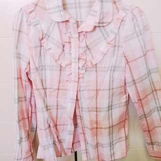 粉紅格紋襯衫