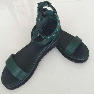 Green Gladiator Sandals